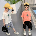 T-shirt White, yellow, orange, black No.2, white No.2, gray No.2, orange T + black pants, orange T + check Capris, white T + Capris Changing trend children 110cm,120cm,130cm,140cm,150cm,160cm,170cm male summer Short sleeve Crew neck leisure time There are models in the real shooting nothing other