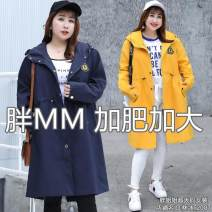 Women's large Autumn 2020 Blue-193, yellow-48q Large XL, large XXL, large XXL, large XXXXL, large XXXXL Windbreaker commute Solid color other 75CDE207 25-29 years old belt