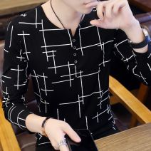 T-shirt Youth fashion routine 165/M 170/L 175/XL 180/2XL 185/3XL Installation strategy Long sleeves Crew neck Self cultivation daily autumn Cotton 95% polyurethane elastic fiber (spandex) 5% teenagers routine tide Cotton wool Autumn of 2018 Geometric pattern Color contrast cotton Geometric pattern