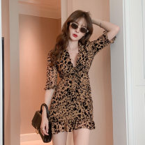 Dress / evening wear Weddings, adulthood parties, company annual meetings, daily appointments S M L XL Leopard Print sexy Short skirt High waist Summer 2021 Short buttocks Deep collar V Hollowing out 18-25 years old Z414677 three quarter sleeve Leopard Print Happy Diva routine Polyester 100%