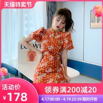 cheongsam Summer 2021 S M L orange Short sleeve Short cheongsam court Low slit daily Round lapel Decor 25-35 years old Embroidery H4107 Happy Diva polyester fiber Polyester 100% Pure e-commerce (online only) 96% and above