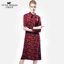 Dress Fall 2017 safflower 155/36/S 160/38/M 165/40/L 170/42/XL 175/44/XXL 180/46/XXXL Middle-skirt singleton  Nine point sleeve commute other Loose waist Decor Single breasted other shirt sleeve Others 30-34 years old Type H Style woman Simplicity 3D printing of bow tie EI3A3005 More than 95%