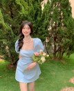 Dress Summer 2021 blue S, M Short skirt singleton  Short sleeve commute square neck High waist Solid color Socket A-line skirt puff sleeve 18-24 years old Type H Other / other Korean version backless 31% (inclusive) - 50% (inclusive) other