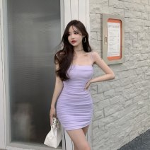 Dress Summer 2021 Taro purple S,M,L Short skirt singleton  Sleeveless commute other High waist Solid color zipper other other camisole 18-24 years old Type H Other / other Korean version Pleated, open back 30% and below other other