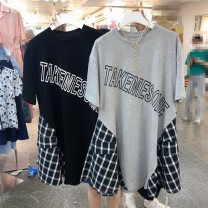 Dress Summer 2021 Gray, black Average size Mid length dress singleton  Short sleeve commute Crew neck Loose waist letter Socket Big swing routine 18-24 years old Type H Korean version Stitching, printing 51% (inclusive) - 70% (inclusive) knitting cotton