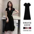 Dress Summer 2020 Black red Khaki brick red S M L XL XXL longuette singleton  Short sleeve commute V-neck High waist Solid color Socket A-line skirt 18-24 years old Huo ling'er Korean version Splicing Y9108518 More than 95% cotton Cotton 97% polyurethane elastic fiber (spandex) 3%