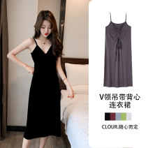Dress Summer 2020 Grey apricot white black S M L XL XXL longuette singleton  Sleeveless commute V-neck High waist Solid color Socket A-line skirt camisole 18-24 years old Huo ling'er backless J9156525 More than 95% cotton Cotton 97% polyurethane elastic fiber (spandex) 3%