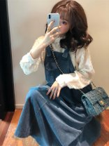 Dress Spring 2021 H33 white top with blue strap skirt S,M,L,XL longuette Two piece set Long sleeves commute Crew neck High waist Solid color Socket A-line skirt routine straps 18-24 years old Type A Other / other Korean version B5521 other polyester fiber