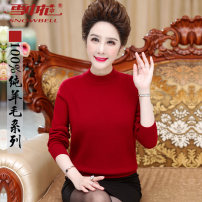 Middle aged and old women's wear Winter of 2019 Dark red medium gray black camel purple 110 115 120 125 leisure time sweater easy singleton  Solid color 40-49 years old Socket thickening Half high collar routine routine Flowers in the snow wool Wool 100% 96% and above