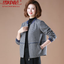 Middle aged and old women's wear Autumn of 2019 leisure time Jacket / jacket easy singleton  lattice 40-49 years old Cardigan moderate Crew neck Short (length 35-50cm) routine Flowers in the snow pocket polyester Polyester 90% polyamide 10% 81% (inclusive) - 90% (inclusive) zipper