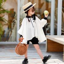 shirt Beige baby shirt, black shorts Xiaomi candy female 80cm,90cm,100cm,110cm,120cm,130cm,140cm summer three quarter sleeve princess Solid color other Doll Collar