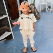 suit Xiaomi candy Beige suit, floral suit 80cm,90cm,100cm,110cm,120cm,130cm female summer Europe and America Short sleeve + pants 2 pieces Thin money There are models in the real shooting nothing Solid color children Giving presents at school Chinese Mainland Guangdong Province Dongguan City