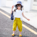 T-shirt White T-shirt Xiaomi candy 80cm,90cm,100cm,110cm,120cm,130cm,140cm female summer Short sleeve Crew neck Europe and America There are models in the real shooting nothing cotton Solid color other 7 years, 8 years, 12 months, 3 years, 6 years, 18 months, 2 years, 5 years, 4 years Split