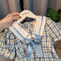 Dress Fresh blue (pre sold to warehouse on April 22) female Xiaomu 1 (for 80cm), 2 (for 90cm), 3 (for 100cm), 4 (for 110cm), 5 (for 120cm), 6 (for 130cm) Cotton 90% other 10% summer Korean version Short sleeve lattice other A-line skirt Chinese Mainland
