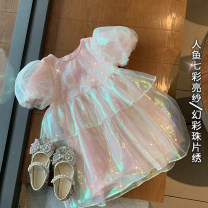 Dress Dazzle color powder (pre sold around April 14) female Xiaomu 1 (for 80cm), 2 (for 90cm), 3 (for 100cm), 4 (for 110cm), 5 (for 120cm), 6 (for 130cm) Other 100% summer Korean version Short sleeve other other A-line skirt 12 months, 18 months, 2 years old, 3 years old, 4 years old, 5 years old