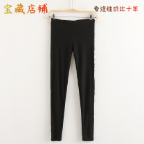 Casual pants black Average size Autumn of 2019 trousers Pencil pants Natural waist Other styles routine Allie Aixi
