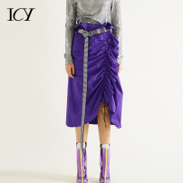skirt Autumn of 2018 S M L violet Middle-skirt Sweet High waist other Solid color 25-29 years old 0828Q00010 More than 95% Icy polyester fiber Lotus leaf edge Polyester 100%