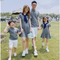 Parent child fashion A family of three Women and men Jxy / Jian Xiyu summer Korean version routine Solid color suit cotton L M S XL XXL Cotton 95% polyurethane elastic fiber (spandex) 5% Class B M L XL XXL Summer 2020 Chinese Mainland