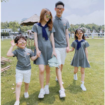Parent child fashion A family of three Women and men Jxy / Jian Xiyu summer Korean version routine Solid color suit cotton L M S XL XXL Cotton 95% polyurethane elastic fiber (spandex) 5% Class B M L XL XXL Summer 2020 Chinese Mainland