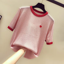 Wool knitwear Summer 2020 Average size White, pink, violet, tail goods are delivered randomly Short sleeve singleton  Socket cotton More than 95% Regular routine commute Self cultivation routine Socket Korean version 18-24 years old