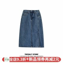 skirt Summer 2020 S,M,L Blue skirt Mid length dress commute High waist Denim skirt Solid color Type A 18-24 years old 51% (inclusive) - 70% (inclusive) cotton Pocket, button, zipper Korean version
