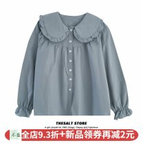 shirt White top, blue top Average size Winter 2020 polyester fiber 96% and above Long sleeves commute Regular Doll Collar Single row multi button routine Solid color 18-24 years old Straight cylinder Korean version Button