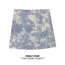 skirt Spring 2021 S,M,L,XL Grey, blue, pink Short skirt commute High waist A-line skirt Type A 18-24 years old 51% (inclusive) - 70% (inclusive) cotton Korean version