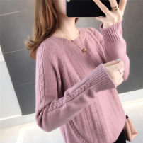 sweater Autumn of 2019 S M L XL Dark Grey Pink bean paste dark brown Long sleeves Socket singleton  Regular other 95% and above Crew neck Regular raglan sleeve Solid color Straight cylinder Regular wool Keep warm and warm 25-29 years old Lanyunling LYL1908020 Other 100% Pure e-commerce (online only)
