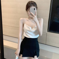 Dress Summer 2020 White suspender + Black Trouser skirt S, M Short skirt singleton  Sleeveless street One word collar High waist Solid color Socket Princess Dress other camisole 18-24 years old Type A 71% (inclusive) - 80% (inclusive) other Europe and America