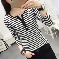 T-shirt White, black, red S M L XL 2XL 3XL Autumn of 2018 Long sleeves V-neck Self cultivation Regular routine commute cotton 86% (inclusive) -95% (inclusive) 18-24 years old Korean version youth Thick horizontal stripe fine horizontal stripe Xiangsinou 388* Button Pure e-commerce (online only)