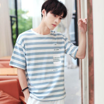 T-shirt Youth fashion Cool 395 sky blue cool 395 treasure blue routine S/160 M/165 L/170 XL/175 XXL/180 3XL/185 Hanjiao elbow sleeve Crew neck easy Other leisure summer Cotton 95% polyurethane elastic fiber (spandex) 5% teenagers routine Spring of 2019 cotton Pure e-commerce (online only)