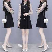 Dress Autumn 2020 Picture color S M L XL 2XL Mid length dress singleton  Long sleeves commute Polo collar High waist Dot Single breasted A-line skirt routine Others 25-29 years old Type A Charm Korean version Hollow button YM20201145 More than 95% other other Other 100% Pure e-commerce (online only)