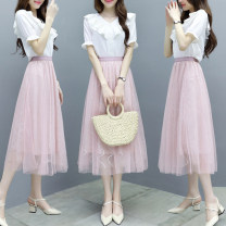 Dress Summer 2020 Pink grey S M L XL 2XL longuette Two piece set Short sleeve commute V-neck middle-waisted Solid color Socket Cake skirt Petal sleeve Others 25-29 years old Type A Charm Korean version Gauze YM2020008 More than 95% other Other 100% Pure e-commerce (online only)