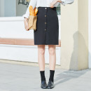 skirt Spring 2020 S,M,L,XL black Middle-skirt Sweet High waist A-line skirt Solid color Type A 18-24 years old EW20Z3002D 91% (inclusive) - 95% (inclusive) Yi · Li polyester fiber Button solar system
