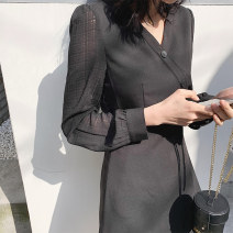 Dress Spring 2020 White, black S,M,L,XL Mid length dress singleton  Long sleeves commute V-neck High waist Solid color Socket A-line skirt routine Others 18-24 years old Type H Keely / Yi · Li lady EW20C1055D 71% (inclusive) - 80% (inclusive)