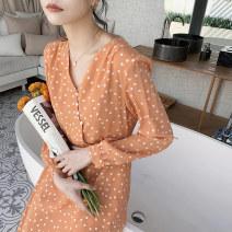Dress Spring 2020 orange S,M,L,XL Mid length dress singleton  Long sleeves commute V-neck High waist Dot Socket A-line skirt routine Others 18-24 years old Type H Keely / Yi · Li lady EW20C1039D More than 95%