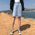 skirt Summer 2020 XS S M L XL Apricot blue black Middle-skirt Versatile High waist Denim skirt Solid color Type A 18-24 years old 81% (inclusive) - 90% (inclusive) Denim Wait for maple cotton Pure e-commerce (online only) 601g / m ^ 2 and above