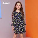 Dress Blue and yellow flowers female Annil / anel 110cm,120cm,130cm,140cm,150cm,160cm Polyester 100% spring and autumn leisure time Long sleeves Broken flowers other Pleats AG813544 Class B Chinese Mainland