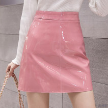 skirt Spring 2021 S,M,L,XL Apricot, black, pink Short skirt Versatile High waist A-line skirt Solid color Type A 18-24 years old 31% (inclusive) - 50% (inclusive) cowhide PU