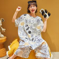 Pajamas / housewear set female Other / other M,L,XL,XXL cotton Short sleeve Sweet Leisure home summer Thin money Crew neck Cartoon animation Socket youth one-piece garment pure cotton printing Spring and autumn dream Middle-skirt