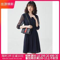 Dress Spring 2021 blue 5XL,XL,4XL,3XL,2XL,L,S,XS,M Middle-skirt singleton  three quarter sleeve tailored collar High waist Socket routine 25-29 years old 9 Charms 9m