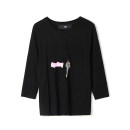 T-shirt Black, apricot Spring 2021 Long sleeves Crew neck Regular routine Sweet other 96% and above 25-29 years old 9 Charms 9m