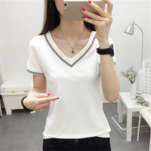 T-shirt Black and white M L XL XXL Summer of 2018 Short sleeve V-neck Self cultivation Regular routine commute polyester fiber 86% (inclusive) -95% (inclusive) Under 17 Korean version originality Solid color Other / other three thousand and eight