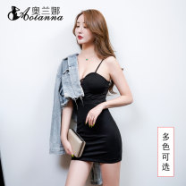 Dress Winter of 2019 Big red black More customized s ml XL XXL Short skirt singleton  Sleeveless commute V-neck High waist Solid color Socket One pace skirt other camisole 25-29 years old Olana lady Pleated lace up More than 95% polyester fiber Polyester 98% polyurethane elastic fiber (spandex) 2%