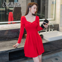 Dress Autumn 2020 Red and black S M L XL XXL XXXL Short skirt singleton  Long sleeves Sweet square neck High waist Solid color Socket Big swing routine Others 25-29 years old Type A Olana More than 95% polyester fiber Polyester 97% polyurethane elastic fiber (spandex) 3% princess