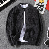 T-shirt / sweater J & fo / jaffano Youth fashion [thickened] Navy [thickened] grey [thickened] black 165/S 170/M 175/L 180/XL 185/XXL 190/XXXL thickening Cardigan stand collar Long sleeves spring and autumn Slim fit 2020 Polyester 100% leisure time tide youth routine Solid color Spring of 2018