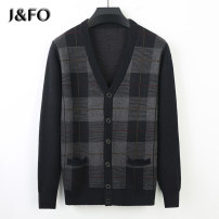 T-shirt / sweater J & fo / jaffano Business gentleman Black on cyan 170/M 175/L 180/XL 185/2XL 190/3XL thickening Cardigan V-neck Long sleeves JFO F-5 autumn Straight cylinder 2020 Polyester fiber 36.8% polyacrylonitrile fiber (acrylic fiber) 24.5% polyamide fiber (nylon fiber) 20.2% wool 18.5% other