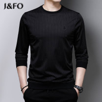 T-shirt Fashion City Blue grey green red routine 165/S 170/M 175/L 180/XL 185/2XL 190/3XL J & fo / jaffano Long sleeves Crew neck standard Other leisure spring JFO8001 Polyamide fiber (nylon) 48.3% viscose fiber (viscose fiber) 42.4% polyurethane elastic fiber (spandex) 9.3% youth routine tide stripe