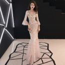 Dress / evening wear Wedding party company annual meeting performance date XS S M L XL XXL Champagne Korean version longuette middle-waisted Winter of 2018 fish tail Deep collar V zipper 18-25 years old YWR18057 three quarter sleeve Nail bead Solid color Yuwanru pagoda sleeve Other 100% other Sequins