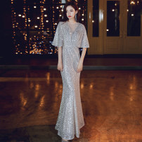 Dress / evening wear Wedding party company annual meeting performance date XS S M L XL XXL Champagne gold 1089-2 Korean version longuette middle-waisted Winter of 2019 Fall to the ground U-neck zipper 18-25 years old YWR19258 Short sleeve Nail bead Solid color Yuwanru Bat sleeve Other 100% other